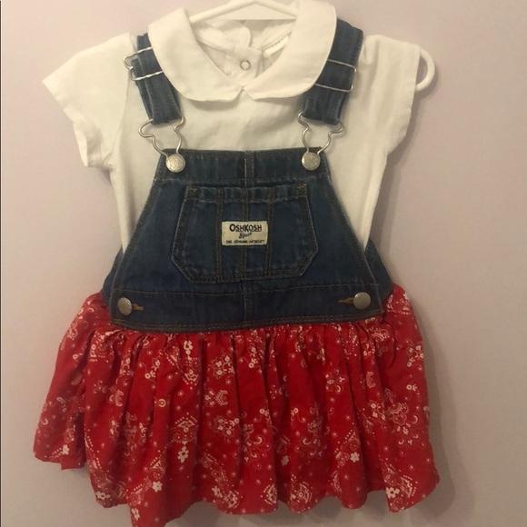 OshKosh B'gosh Other - Overall Dress w/ Red Bandanna Skirt